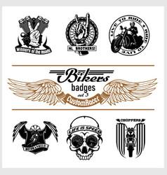 Set vintage motorcycle labels badges and vector