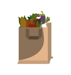 shopping bag with healthy food isolated icon vector image