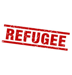 Square grunge red refugee stamp vector