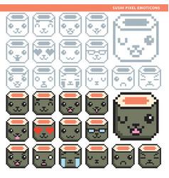 sushi pixel emoticons vector image