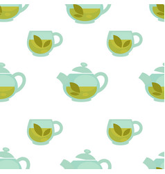 teapot with green tea cartoon seamless vector image