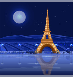 Tour eiffel paris at night card beautiful vector