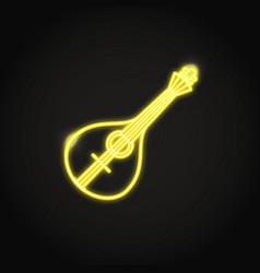 traditional portuguese guitar fado icon in glowing vector image