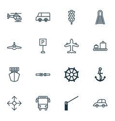 Transportation icons set collection of boat helm vector