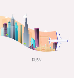 travel to dubai traveling on airplane planning a vector image