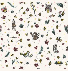 trendy and cute gardening flowers bird yard vector image