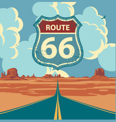 Us route 66 western landscape with a road sign vector