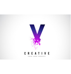V purple letter logo design with liquid effect vector