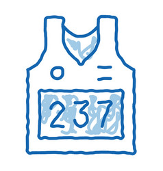 Vest with personal athlete number doodle icon hand vector