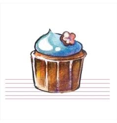 Watercolor cupcakes Hand drawn retro style vector