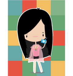 woman cute holding a camera vector image