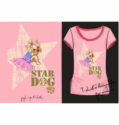 Womans short with little fashion dog vector