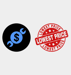 Wrench repair price icon and distress vector