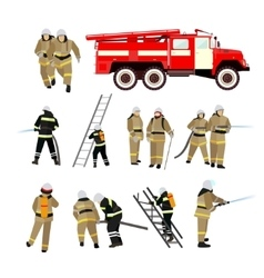 Fire fighting department set Station and vector image