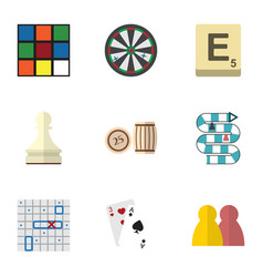 flat icon play set of cube pawn sea fight and vector image