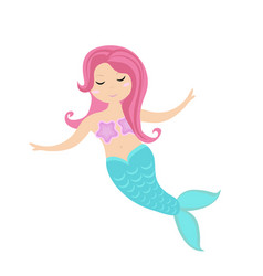 little mermaid icon flat style mythical sea vector image