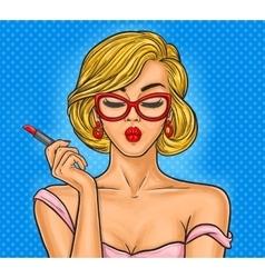 Pop art woman paints her lips vector image
