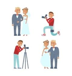 wedding couple and photographer vector image