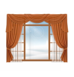 Window with curtains and winter landscape outside vector