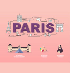 attractive landmark icons for traveling in paris vector image vector image