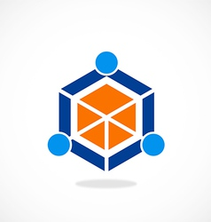 cube polygon abstract people group logo vector image