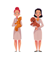 female veterinarians vets in medical coats vector image vector image