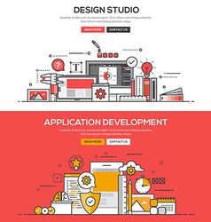 Flat design line concept Design studio and Apps vector image vector image
