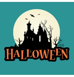 Halloween logo haunted mansion vector