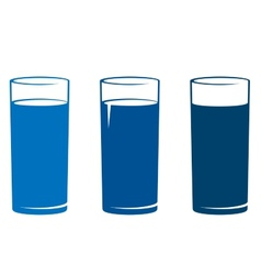 Isolated water glass set vector