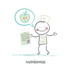 nutritionist shows the document speaks of healthy vector image vector image