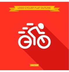 Racing cyclist dinanima logo icon outline flat vector image