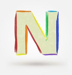 Alphabet letter N Watercolor paint design element vector image vector image