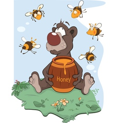 Bear and a wooden keg with honey vector image vector image