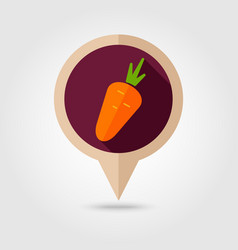 carrot flat pin map icon vegetable vector image