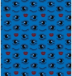 Eyes and lips silhouette seamless pattern vector image