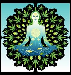 meditating woman vector image vector image
