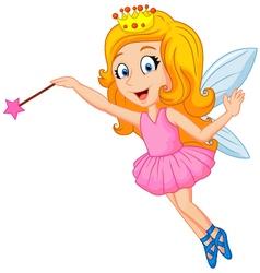 Cartoon fairy with magic wand vector image