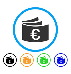 euro checkbook rounded icon vector image