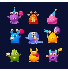 Fantastic Monsters With Birthday Party Objects vector image vector image