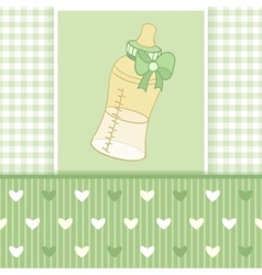 Greeting card with baby bottle-01 vector image vector image