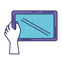 hand human with tablet vector image