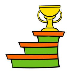 pedestal and winner cup icon icon cartoon vector image vector image