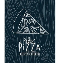 Poster slice pizza wood blue vector image