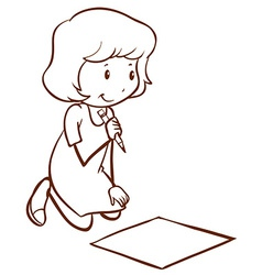 A simple drawing of a girl writing vector