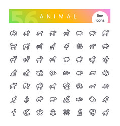 animal line icons set vector image