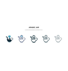 Arabic jar icon in different style two colored vector