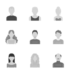 Avatar set icons in monochrome style Big vector
