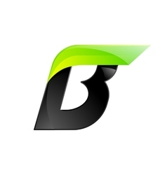 B letter black and green logo design Fast speed vector image