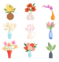 beautiful garden flowers in ceramic vases set vector image