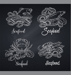 Blackboard banner with chalk seafood vector